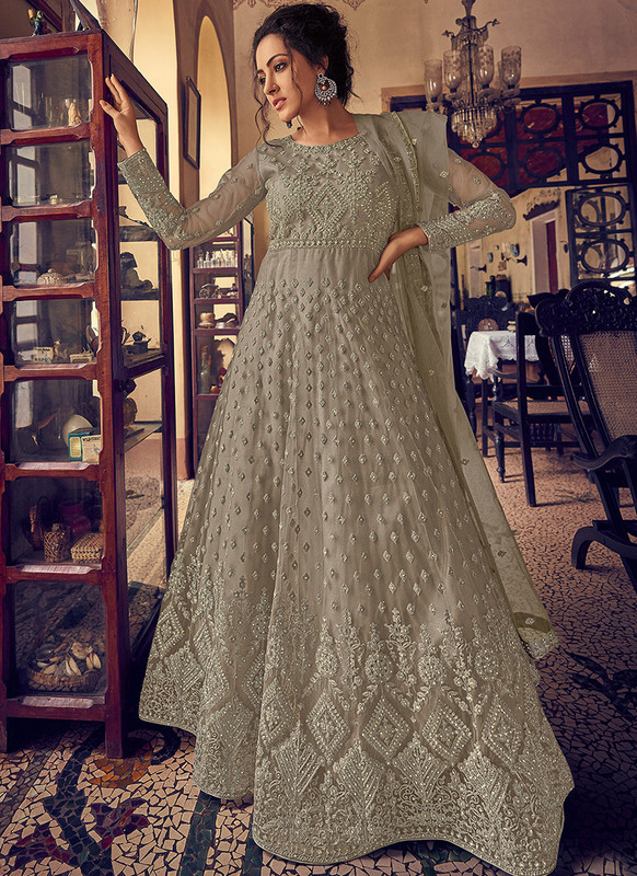 Dial N Fashion Grey Heavy Designer Party Wear Butterfly Net Aanarkali Suit