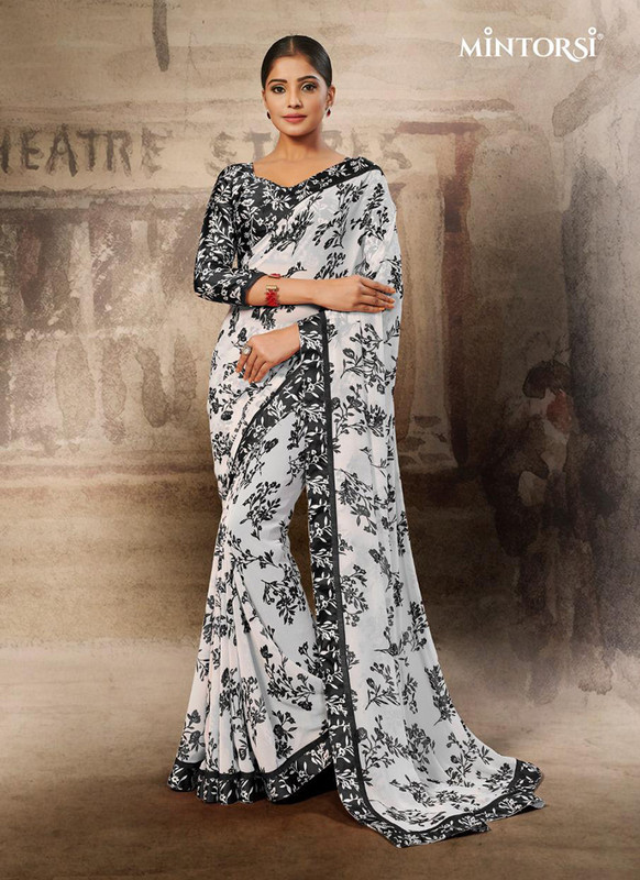 Mintorsi Black, White Casual Saree