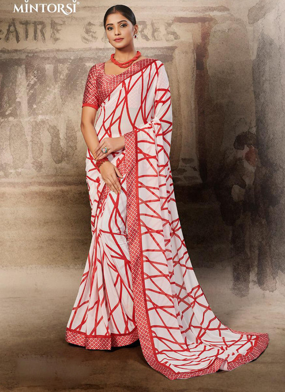 Mintorsi Red, White Casual Saree
