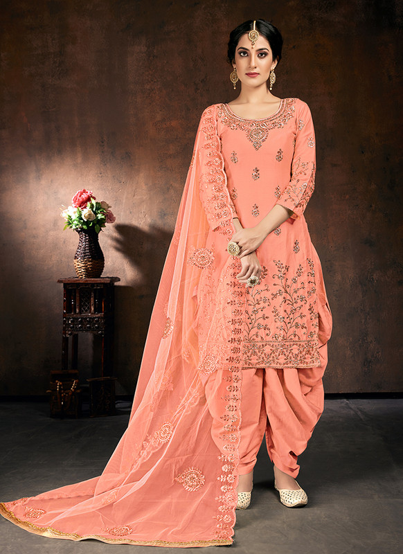 Shreematee Pink Desinger Party Wear Patiala