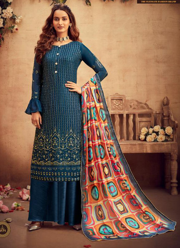 Hotlady Blue Navy Blue Party Wear Salwar Suit