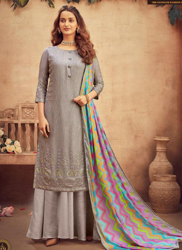 Hotlady grey Party Wear Salwar Suit