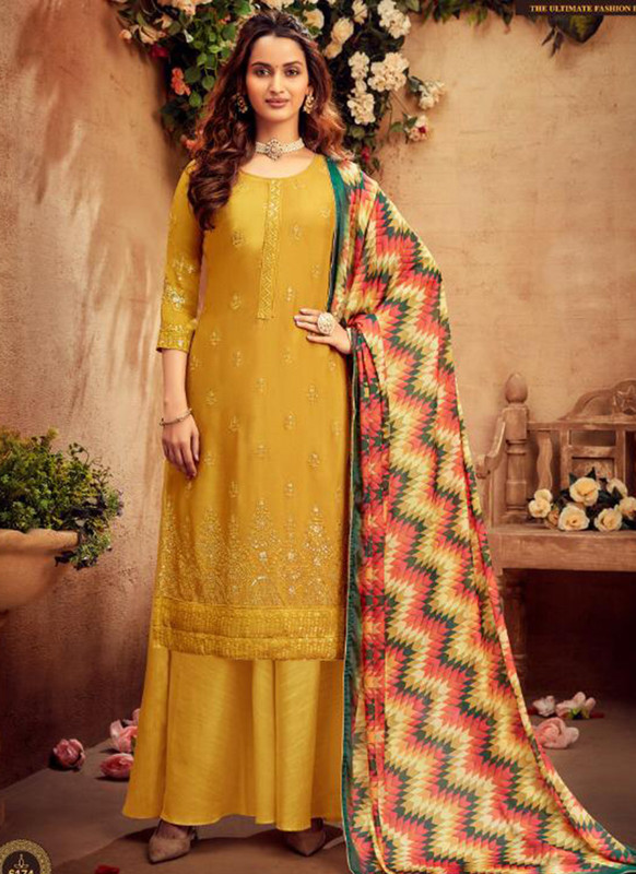 Hotlady Mustard Party Wear Salwar Suit