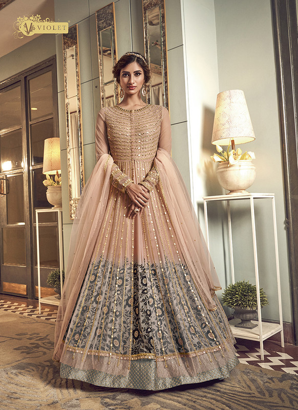 Swagat Pink Floor Lenth Anarkali Suit For Engagement