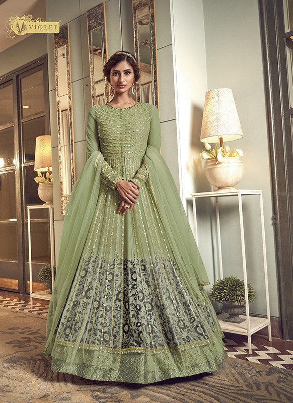 Swagat Green Floor Lenth Anarkali Suit For Engagement
