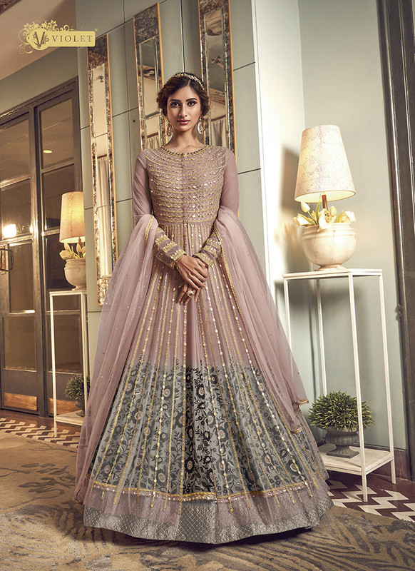 Swagat beige Floor Lenth Anarkali Suit For Engagement