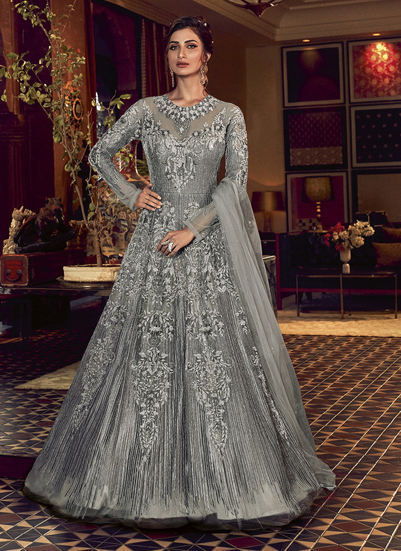 Swagat Grey Floor Lenth Anarkali Suit For Engagement