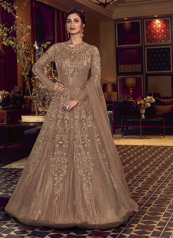 Swagat Brown Floor Lenth Anarkali Suit For Engagement