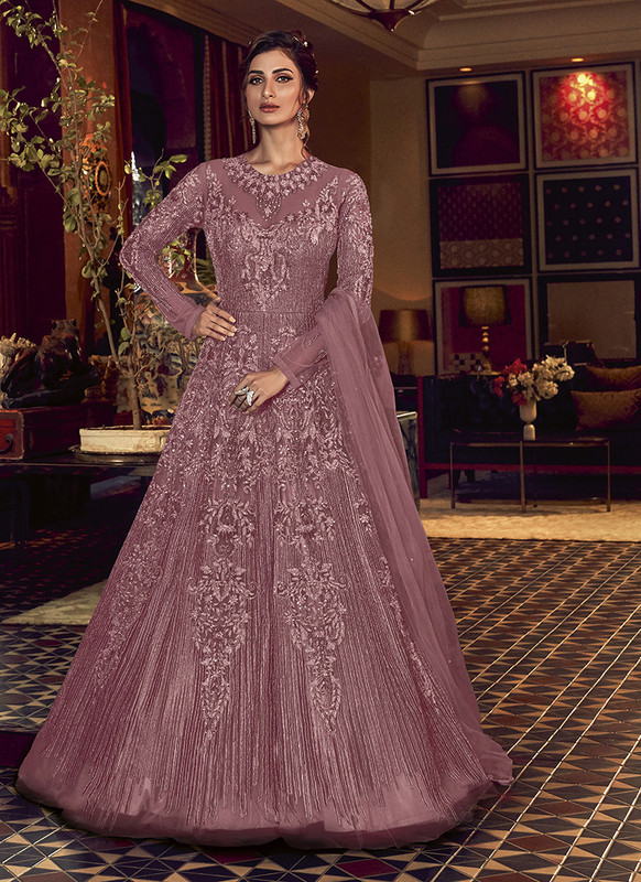 Swagat Purple Floor Lenth Anarkali Suit For Engagement