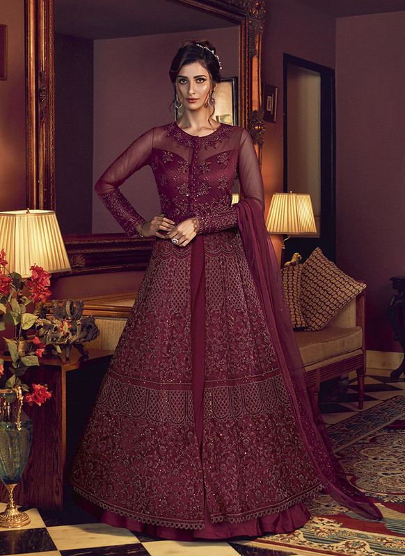 Swagat Wine Floor Lenth Anarkali Suit For Engagement