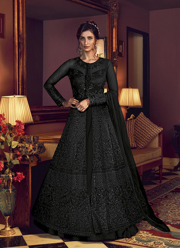 Swagat Black Floor Lenth Anarkali Suit For Engagement