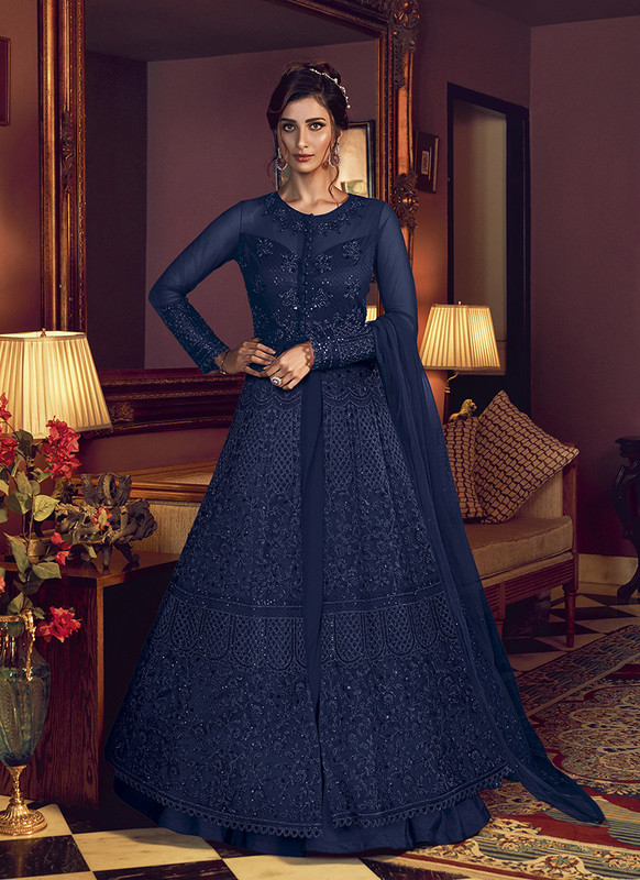 Swagat Blue Floor Lenth Anarkali Suit For Engagement