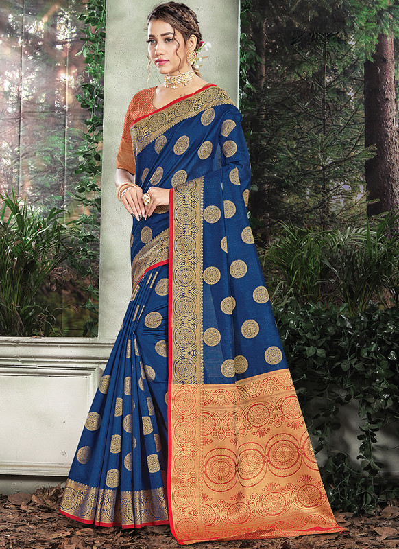 Handloom Silk Saree From Sangam In Blue Color