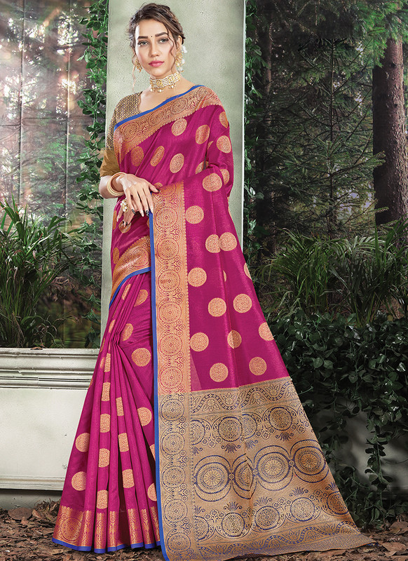 Handloom Silk Saree From Sangam In Pink Color