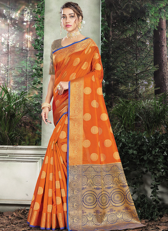 Handloom Silk Saree From Sangam In Orange Color