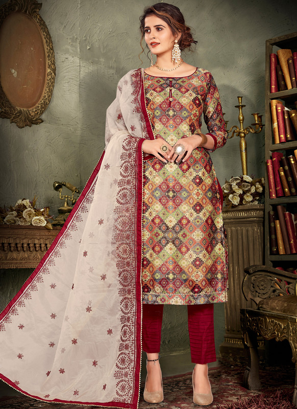 Chanderi Silk Printed Party Wear Salwar Suit