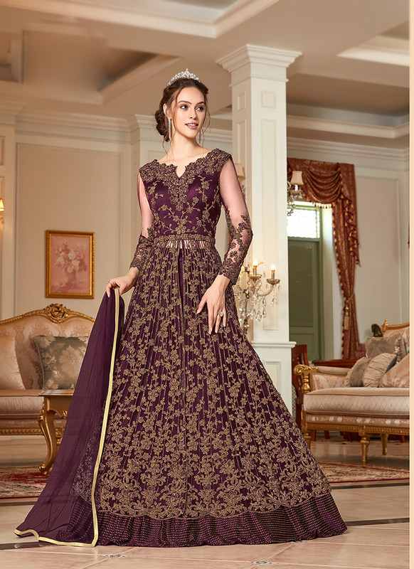 Wine Embroidered Long Choli Lehenga