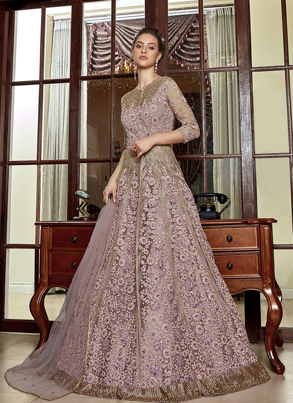 Mauve Embroidered Long Choli Lehenga