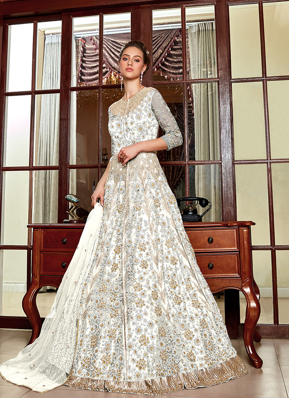 Off White Embroidered Long Choli Lehenga