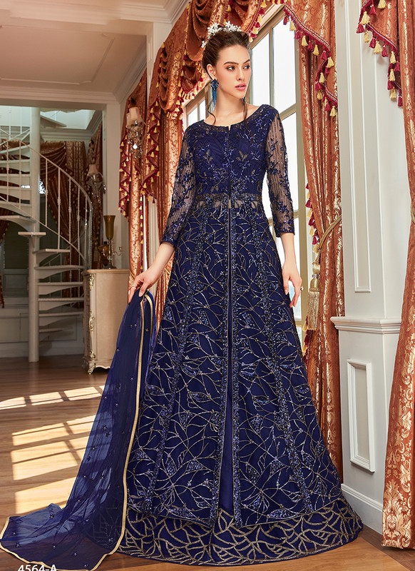 Blue Embroidered Long Choli Lehenga