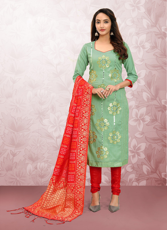 Glass Cotton Churidar Salwar Suit