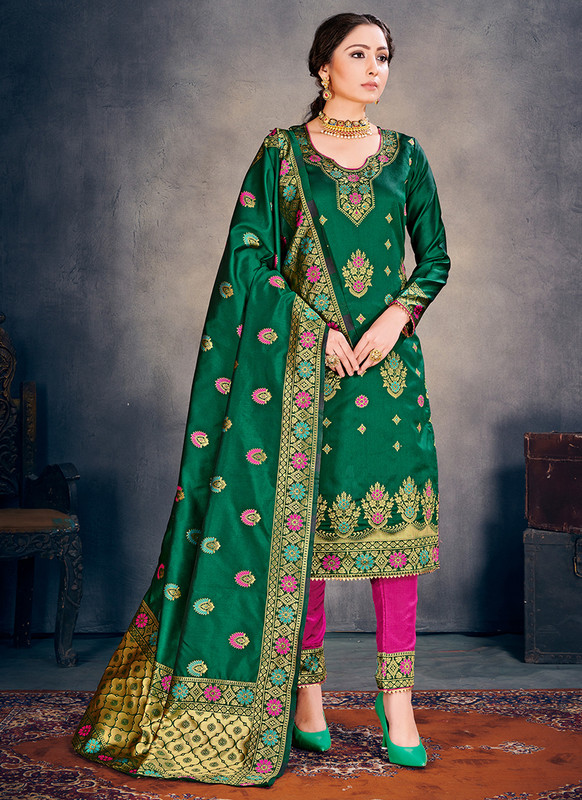 Banarasi Art Silk Green Salwar Suit
