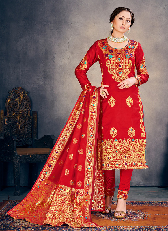 Banarasi Art Silk Red Salwar Suit