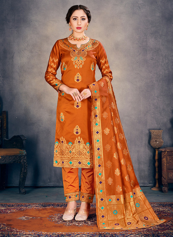 Banarasi Art Silk Orange Salwar Suit