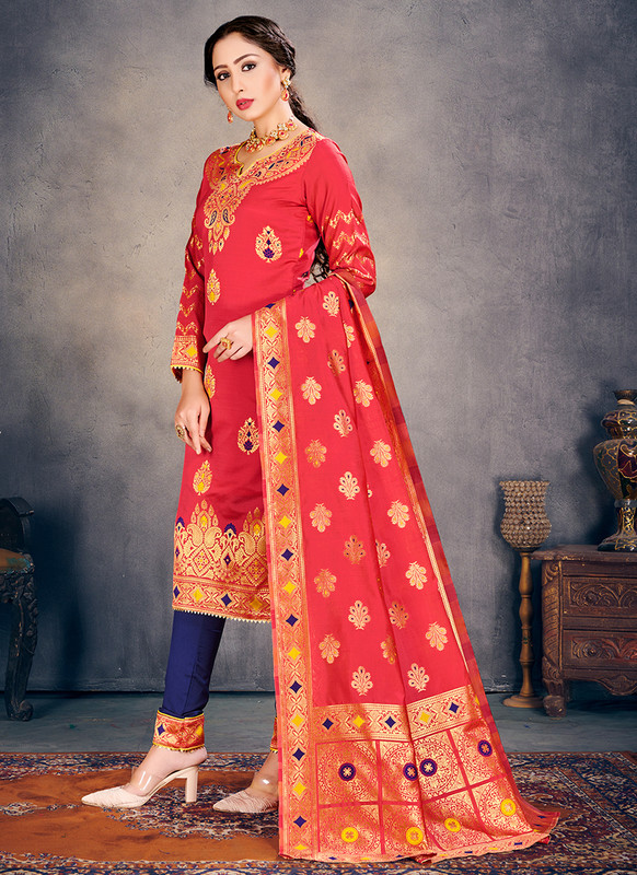 Banarasi Art Silk Peach Salwar Suit
