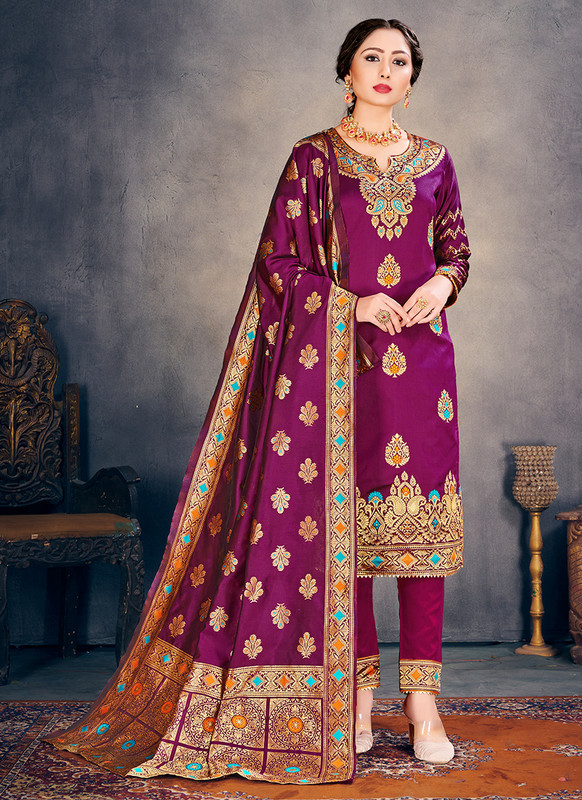 Banarasi Art Silk Purple Salwar Suit