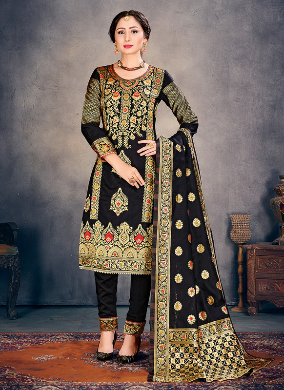 Banarasi Art Silk Black Salwar Suit