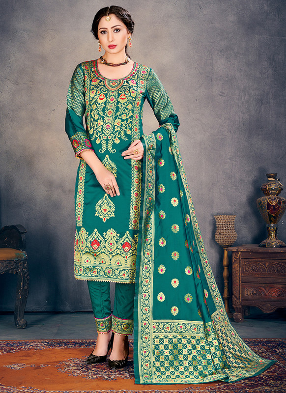 Banarasi Art Silk Teal Salwar Suit