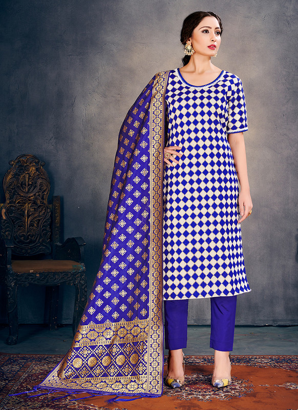 Banarasi Art Silk Blue Salwar Suit