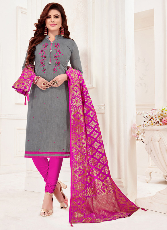 Grey Churidar Salwar Suit