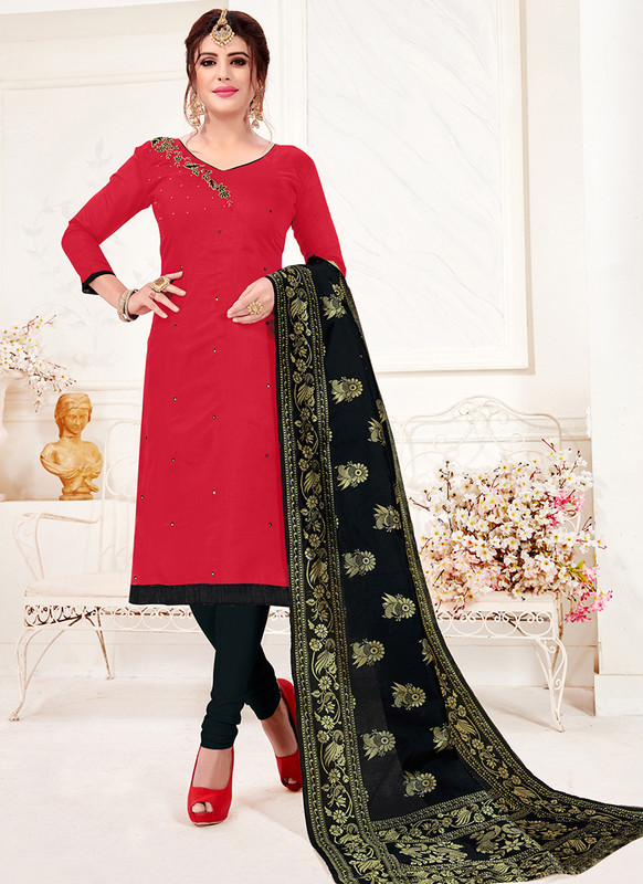 Red Churidar Salwar Suit