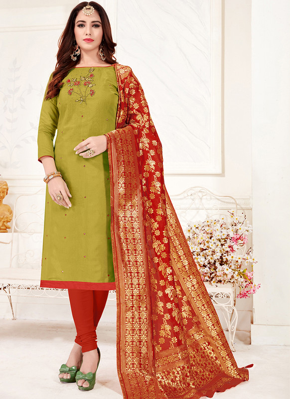 Green Churidar Salwar Suit