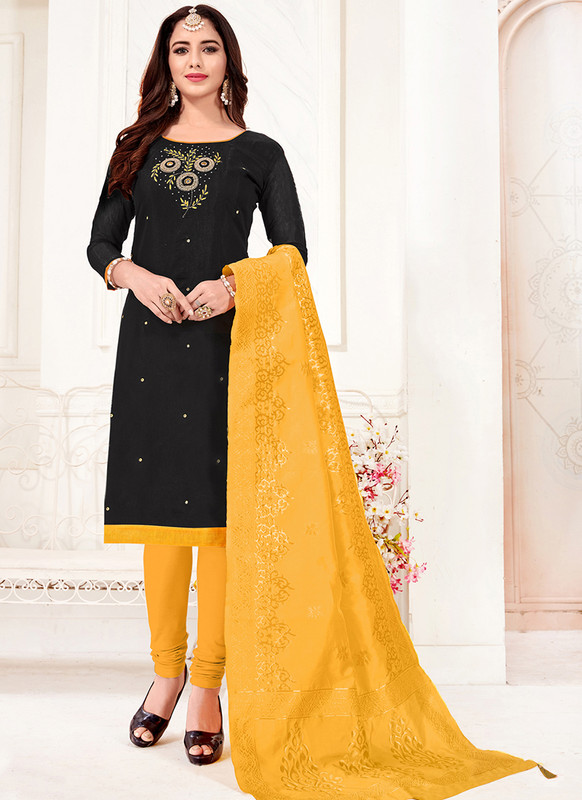 Black Churidar Salwar Suit