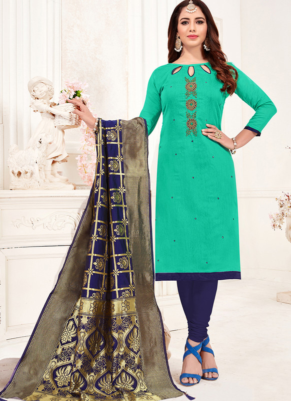 Teal Churidar Salwar Suit