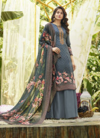 Palazzo Suit Digital Print With Neck Work on Pure Jam Cotton