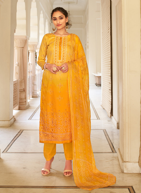 Mustard Color Party Wear Salwar Suit