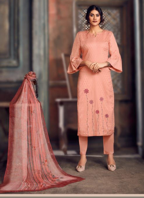 Salmon Color Party Wear Salwar Suit