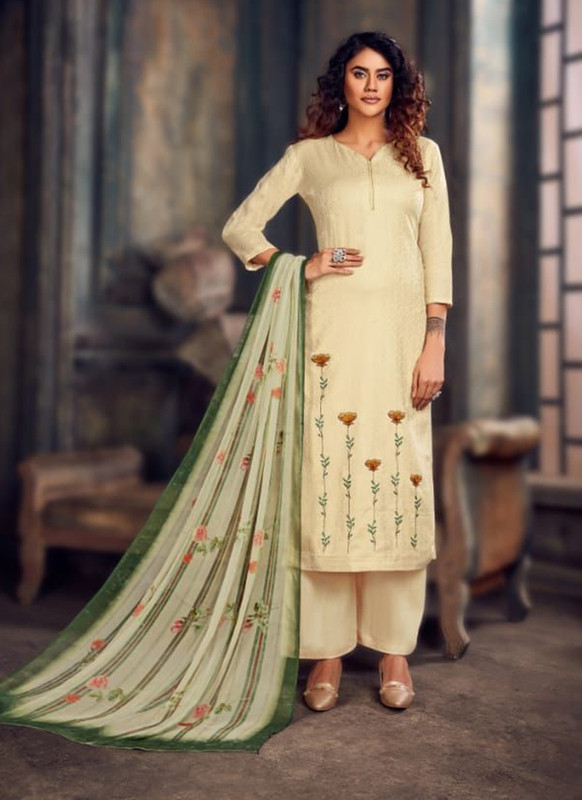 Cream Color Party Wear Salwar Suit