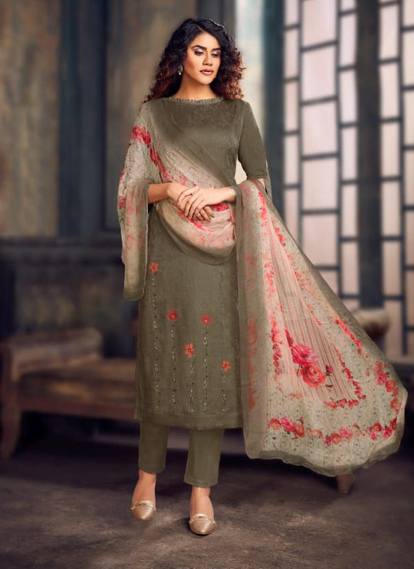 Grey Color Party Wear Salwar Suit