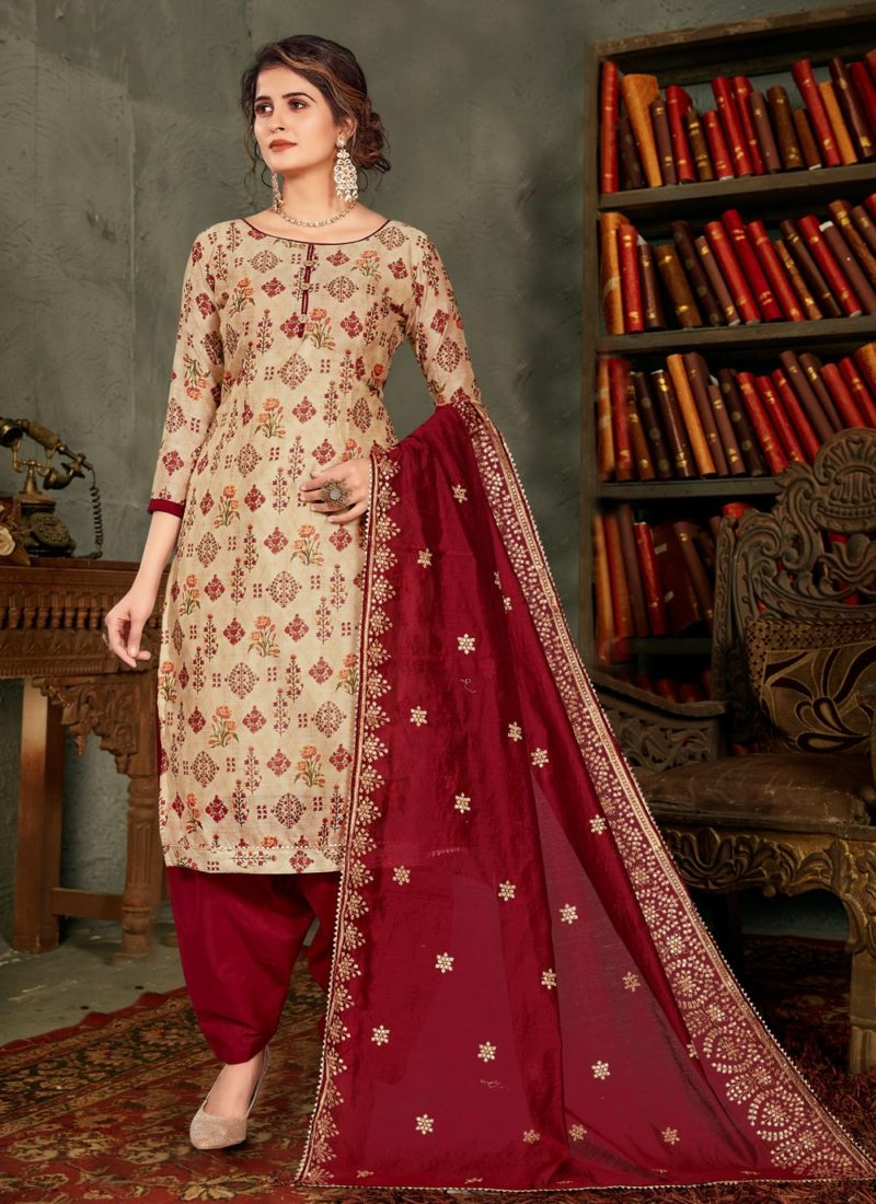 Queen Two Beige And Maroon Embroidered Chanderi Designer Pakistani Suit