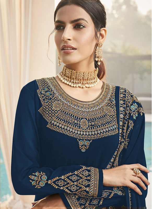 Sareetag Fox Georgette Blue Pakistani Salwar Suit