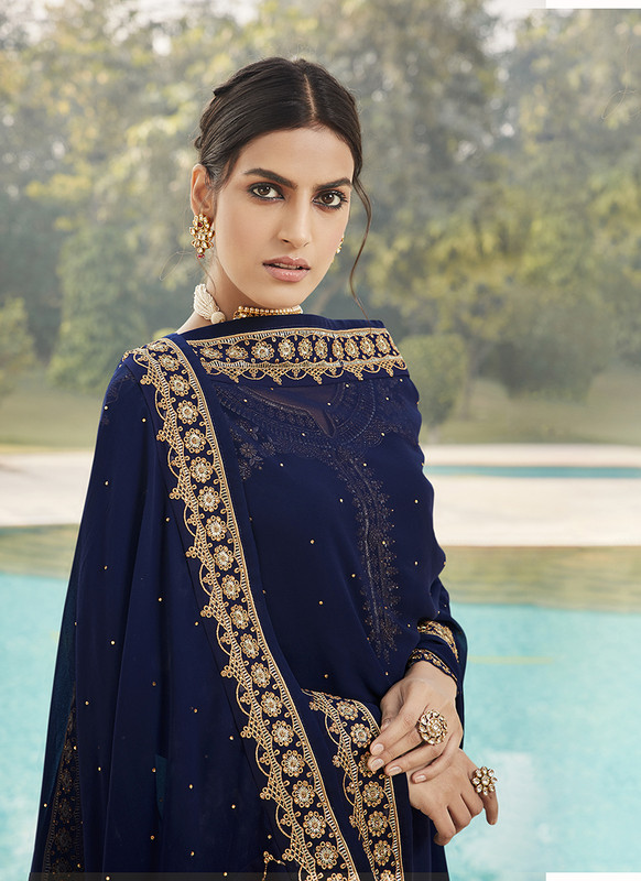 Sareetag Fox Georgette Royal Blue Pakistani Salwar Suit