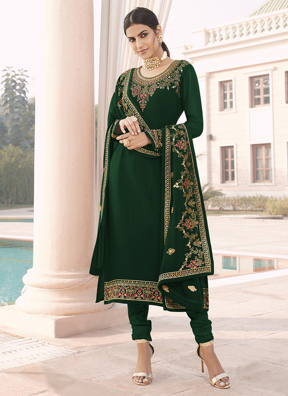 Sareetag Fox Georgette Green Pakistani Salwar Suit