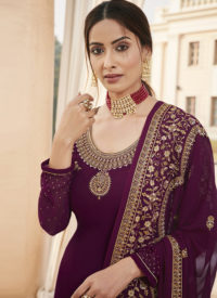 Sareetag Fox Georgette Purple Pakistani Salwar Suit