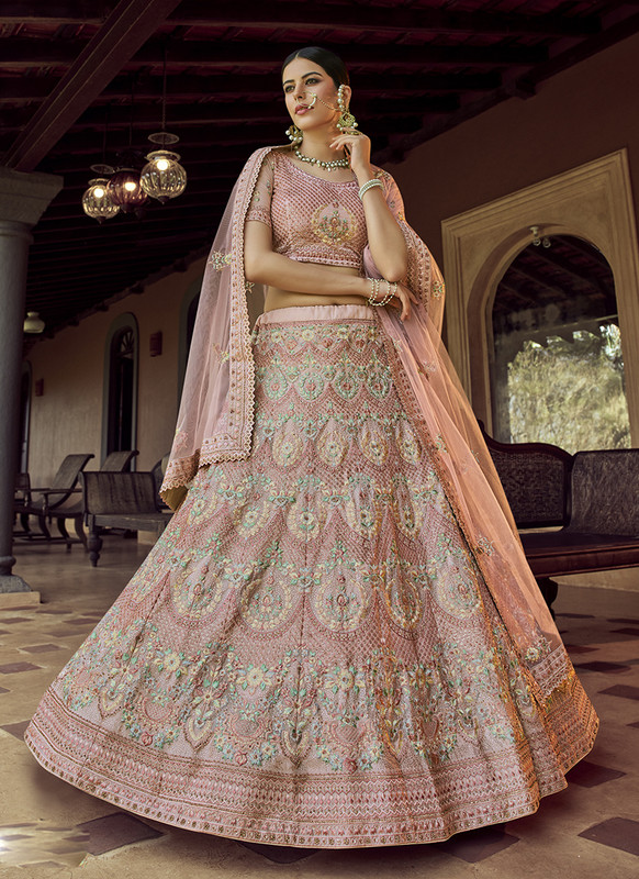 Arya Design Dial N Fashion Georgette Peach Lehenga Choli