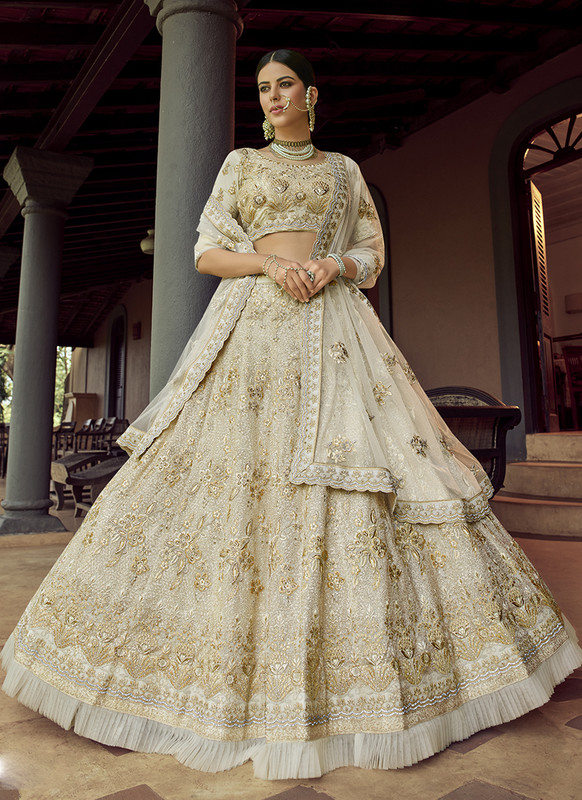 Arya Design Dial N Fashion Georgette Off White Lehenga Choli